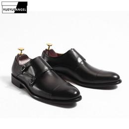 итальянская кожаная обувь Скидка Italian Genuine Leather Men Monk Formal Shoes  Vintage Double Buckle Straps Business Dress Shoes Wedding Leather Male