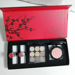 Cosmetici di prugna online-New Plum Blossom Makeup Set 9 colori eyeshadow blush 2pcs opaco rossetto 4in1 set cosmetico