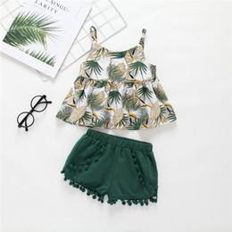 disegni di applique di halloween Sconti Summer INS Design Neonata Green Leaf Shirt Dress Top con Nappa Ball Short Bloomers 2 pezzi Abiti Girls Lolita Clothing Set per 0-5T