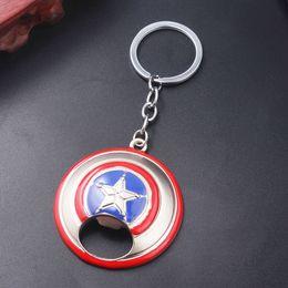 chiave portachiavi porta bottiglia Sconti Captain American Shield Apribottiglie Keychain Marvel Superhero Modello portachiavi per gli uomini Car Portachiavi regalo gioielli