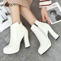 scarpe bianche marrone piattaforma Sconti Stivaletti tacco alto Chunky Donna Fashion Platform Zipper Pu Leather Autunno Wintre Scarpe da donna Bianco Nero Marrone