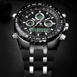 водонепроницаемые цифровые спортивные часы черный Скидка Часы Мужская Мода Спорт Кварцевые Часы Мужские Часы Топ Бренд Люкс Led Цифровой Водонепроницаемый Черный Наручные Часы Relogio Masculino Y19070603