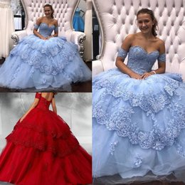 Canada Robe de bal chérie designer Quinceanera robes en dentelle appliques paillettes perlées sans bretelles dos dentelle jusqu'à 15 robe de bal rouge porter une robe douce 16 cheap red strapless sequin gown Offre
