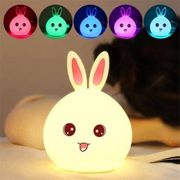 night lamps for kids Promo Codes - Edison2011 New style Rabbit LED Night Light for Children Baby Kids Bedside Lamp Multicolor Silicone Touch Sensor Tap Control Nightlight