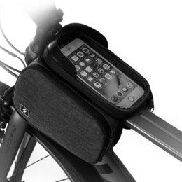 Мешок стороны сотового телефона онлайн-Велосипед с сенсорным экраном 6,5 дюймов Сотовый мобильный телефон Сумка Передняя рамка Верхняя труба Велоспорт Сумка Двухсторонняя корзина для велосипедов
