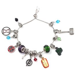 2019 martillo de piedra Vengadores 4: pulsera de final de juego con elementos Hulk Flash Iron Man Thor Thor Hammer Capitán Spider-Man Deadpool Thanos Infinite Stone Plated martillo de piedra baratos