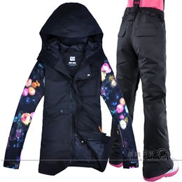 2019 New Women Ski Pants Jacket Printing Flowers Sleeves Snowboard Suits  Snow Board Coat and Trousers Winter Snow Jacket Pants e3dbda940