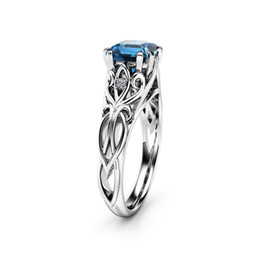 Anéis de diamante azul natural on-line-simples moda clássico prata esterlina 925 Natural Diamante Dark Blue Diamond Ring Engagement nupcial tamanho de jóias amor 6-10