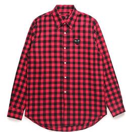 Мужчины Wome двойное сердце DES играть GARCONS CDG вышитые один красный золотое сердце с длинным рукавом повседневная рубашка глаза футболки поло Y-3 Tee от Поставщики вышитые рубашки с воротником