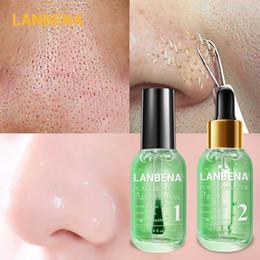 2019 esencia de perla Lanbena Face Serum Blackhead Remover Tratamiento de acné poro retráctil Limpieza profunda Alisado Cuidado de la piel Esencia reafirmante Set de belleza