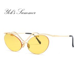 c2b00603ae Yok s Lovers Punk Sunglasses Men Hipster Geometric Rimless Sunglasses Cat  Eye Transparent Brown Lens Glasses Women Red Shades WH1104