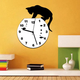 watches cat designs Promo Codes - New Qualified Naughty Cat Acrylic Clock Wall Clock Modern Design Home Decor Watch Wall Sticker Dropship D23Au23