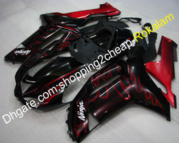 plastica zx636 Sconti Carenatura in plastica ABS ZX 6R per Kawasaki 07 08 ZX-6R 636 ZX636 ZX6R 2007 2008 Kit carenature corsa Rosso Nero (Stampaggio ad iniezione)