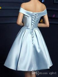 billige knöchellänge beiläufige kleider Rabatt Hellhimmelblau Kurze Partykleider Mit Taschen Schulterfrei Schleifenband Drapiert Heimkehr Kleid Günstige Abschlussballkleider Kurze Günstige