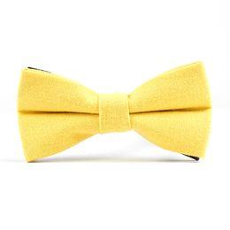 amarrados amarelos Desconto Sólidos Wedding Party Prom noivo laço Linho presentes gravata ajustável amarelo Homens de moda para homens Boy Girl Mulheres Bow Tie Knot
