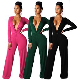 2201357b54e Plus Size Sexy Romper Women Jumpsuit Elegant V Neck Long Sleeve Wide Leg Bodysuit  Casual Green Black Rose Red One Piece Overall