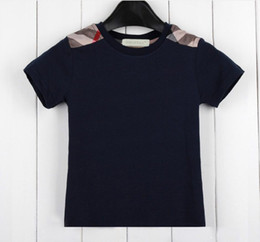 T-shirt a maniche corte per bambini in puro cotone per bambini T-shirt per bambini estate T-shirt bambini nuovi, magliette e camicette per bambini da bei modelli neri fornitori