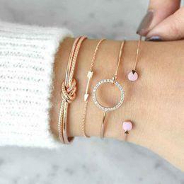 Bracelet de style ethnique en Ligne-Bohe Vintage Femmes Alliage Bracelet Ensemble Fille Style Ethnique Strass Noeud Géométrique Bracelet Dame Layered Wristband