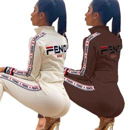 volle hülsenspitzebodysuitfrauen Rabatt F Letters Frauen Zweiteiler Outfits Langarm-Zip-Jacken-Mantel und Legging Hosen wehrt Marke Anzug Street Mode Anzug S-2XL