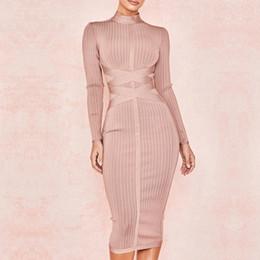 Noche de vestidos largos online-La más nueva moda Celebrity Party Bodycon vendaje vestido de manga larga del o-cuello elegante Sexy Night Out Club Dress Mujeres Vestidos
