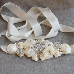 Moda Çiçekler Çiçek Gelin Sashes Ile Kristal Rhinestone Gri Bordo Beyaz Bej Düğün Kemer Dantel Stil Üzerinde dantelleşme ... nereden elastik kemer tokaları tedarikçiler