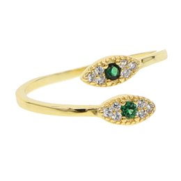 Double finger rings en Ligne-plaqué or midi knuckle bague pour les femmes double mal oeil charme pavé blanc vert zircon cubique anneaux de mode simple