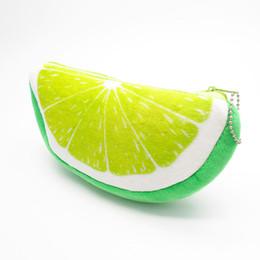 Fruta de veludo on-line-1 pc Moda Bonito Lemon Fruit Velvet Carteira Caso Lápis Caneta Sacos de Bolsa De Pelúcia Lápis Papelaria Mulher Make Up Cosméticos Bolsa