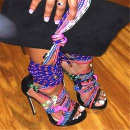 Gladiator Sandalen Damen Pumps Luxus Designer Rope Lace Up Riemchen High Heels Sandalia geflochtene Leder Sommerschuhe Frau 2020