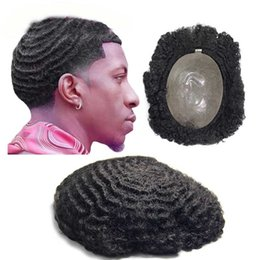 4c1d8882f TKWIG African American Wigs for Men Invisible PU Base Jet Black Afro Hair  Mens Toupee 8x10 Men Unit Systems Hair Wigs