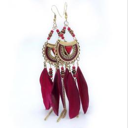 Orecchini in piuma online-Designer orecchini 2019 moda tendenza retrò nappa piuma orecchini femminili beach resort stile orecchini lunghi di lusso