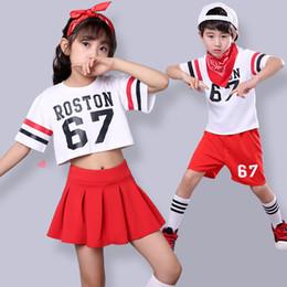 Hip-hop-tanzschule online-Kinder Mädchen Hip Hop Street Dance Ballsaal Schüler Uniform Cheerleading Kostüme Jungen Crooped Casual Jazz Dance Kleidung