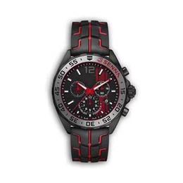 F1 черные наручные часы онлайн-НОВЫЕ роскошные мужские часы черный стальной корпус резиновый ремешок F1 гоночные часы спортивные кварцевые Многофункциональный календарь хронограф