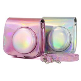 camera pouches Promo Codes - Instax Mini 9 Mini 8 Camera Case Bag Holographic Shining Laser Instant Camera Shoulder Strap Bag Protector Cover Pouch