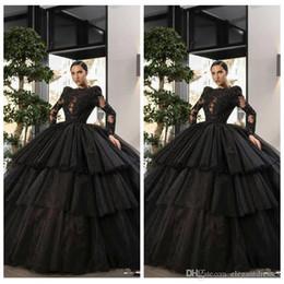 Argentina Elegante vestido de fiesta increíble Vestidos de quinceañera negros Apliques de encaje Tul con gradas Vestidos de fiesta para ocasiones especiales Vestidos largos formales de Soiree Suministro