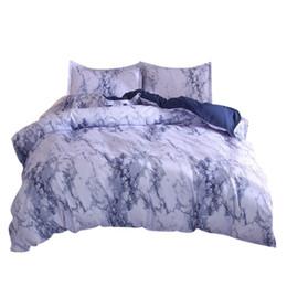 Trapunta di dimensioni reali di colore rosso online-Sheet + 2Pillowcase Simple Marble Bedding Copripiumino Set Copripiumino Twin King Size Con Federa Set biancheria da letto blu New F22