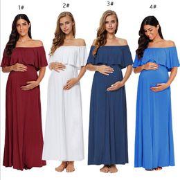 2019 sexy 15 vestidos Vestido de mulher grávida Shoulderless Sexy Strapless ombro Wrinkle Lotus Leaf vestido sem mangas longa seção longo vestido de maternidade 15 sexy 15 vestidos barato