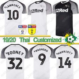 2020 futbol rooney Tailandés 2019 2020 Derby County fútbol jerseys 32 Rooney 10 LAWRENCE 9 Waghorn 8 DOWELL 7 PATERSON inicio personalizada lejos camiseta de fútbol para adultos niños futbol rooney baratos