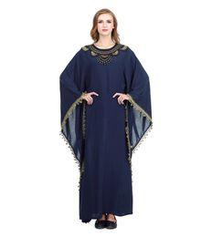 Árabe elegante caftan abayas on-line-2019 Elegante Kaftan Abaya Árabe Vestido De Noite Bordado Applique Chiffon Vestido Longo Dubai Muçulmano Vestido de Baile 2019 Novo