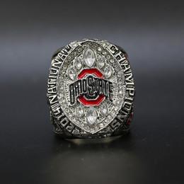anillos de dedo personalizados Rebajas Envío libre 2014 de Ohio State Buckeyes Colegio azucarero anillo de campeonato nacional de fútbol con la exhibición de madera caja de regalo al por mayor del ventilador Hombres