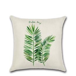2019 cojín de hoja verde Nueva tropical verde de hoja de palma de cactus Tapiz tiro amortiguador de la cubierta Funda de almohada rebajas cojín de hoja verde