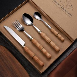 Steak messer sets online-Wood Handle Tableware Set Knife And Fork Spoon Dinnerware Sets Stainless Steel Wedding Favour Gift Steak Knife ZZA1219 60PCS