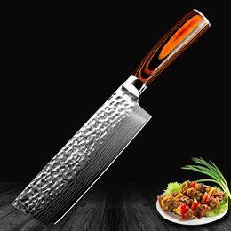 marques de couteaux chinois Promotion Xituo Couteau de chef chinois japonais Damas Laser Motif main couteau de cuisine viande coupée Nakiri Gyuto couteau de boucher antiadhésif Kn