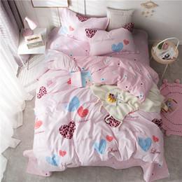 ragazze rosa set di comforter rosa Sconti Pink love 3 / 4pcs Set biancheria da letto Copripiumino Lenzuola Federe gemello matrimoniale pieno re Copripiumino copriletto per bambine