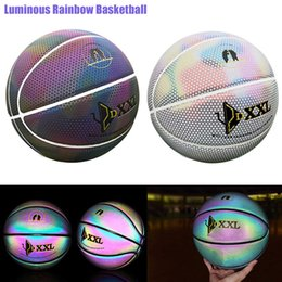 Luminous Street Rubber Basketball Ball Night Game Train PU Rubber  Luminescence Glowing Rainbow Light Children Training Dropship 75086949a79a5