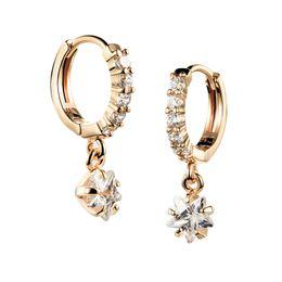 Zirconi cubici di champagne online-New Trendy Champagne Gold Color Cubic Zirconia Simple Flower a forma di orecchini femminili Hoop gioielli per le donne
