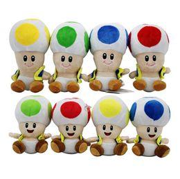 Funghi ripieni online-Peluche Super Mario cartoon Super Mario Mushroom Testa di peluche per bambini regali 17cm / 7 pollici