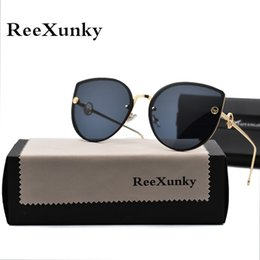 Lente olho negro on-line-2019 olho de gato designer de marca do vintage preto espelho óculos de sol para as mulheres de metal moldura reflexiva lente óculos de sol zonnebril dames