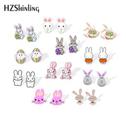 bunny earrings Coupons - 2019 New Easter bunny Acrylic Earrings Funny Rabbit Shrinky Dinks Earrings Epoxy Stud Earring Gilfts