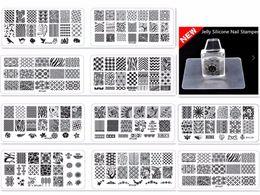 Esmaltes de natal on-line-10 pcs arte do prego de natal estamparia placas + 1 conjunto stamper manicure diy kit imagem modelos de unhas de plástico stencils beauty polonês ferramenta