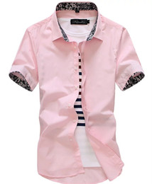 2019 hombres ajustados camisas de vestir de manga corta Brand 2018 New Dragon Print Men'S Designer Slim Fit Camisa de vestir Casual Camisas de manga corta Tops hombres ajustados camisas de vestir de manga corta baratos